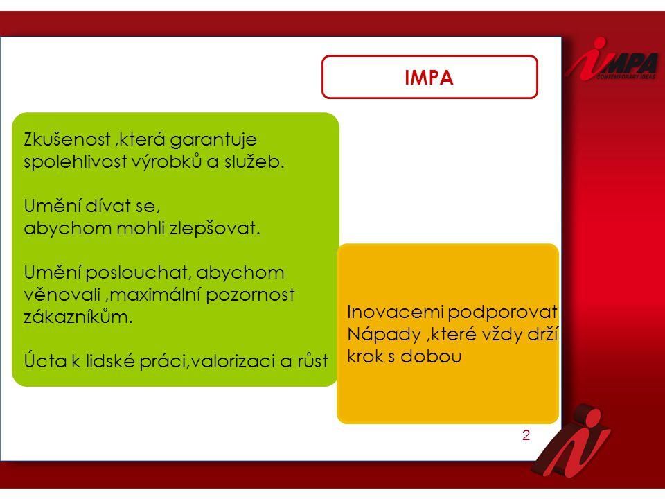 3 Impa začala výrábět v roce1962,díky úsilí zakladatele pana Annuta Zanarda.