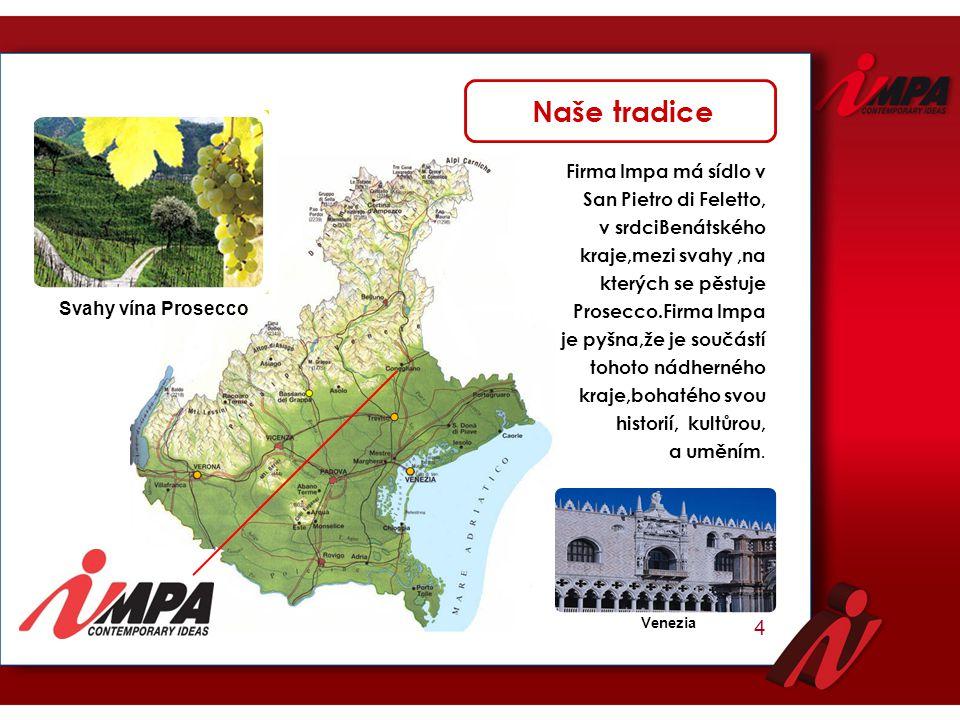 Firma Impa má sídlo v San Pietro di Feletto, v srdciBenátského kraje,mezi svahy,na kterých se pěstuje Prosecco.Firma Impa je pyšna,že je součástí toho