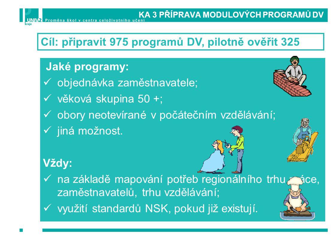 KA 3 PŘÍPRAVA MODULOVÝCH PROGRAMŮ DV Cíl: připravit 975 programů DV, pilotně ověřit 325 Jaké programy: objednávka zaměstnavatele; věková skupina 50 +;