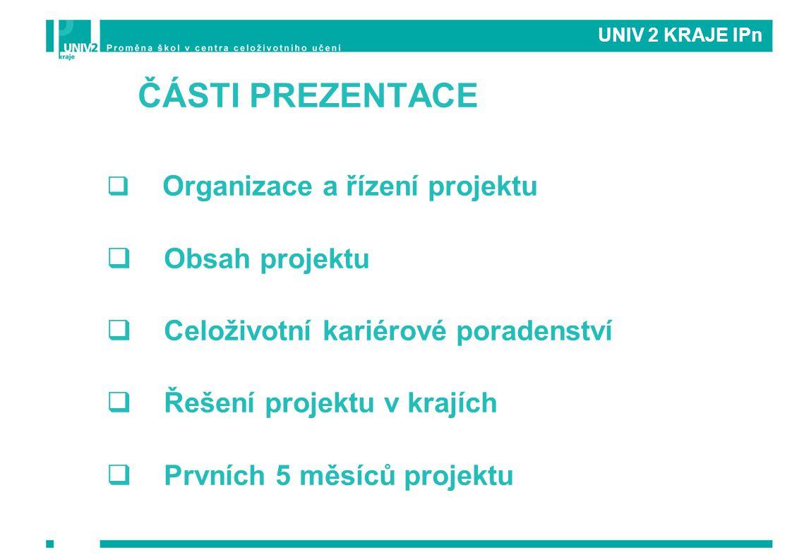 UNIV 2 KRAJE IPn ČÁSTI PREZENTACE  Organizace a řízení projektu  Obsah projektu  Celoživotní kariérové poradenství  Řešení projektu v krajích  Pr