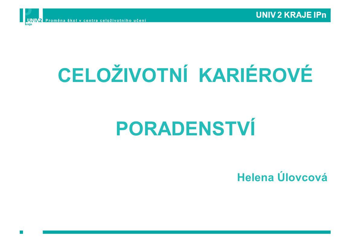 UNIV 2 KRAJE IPn CELOŽIVOTNÍ KARIÉROVÉ PORADENSTVÍ Helena Úlovcová