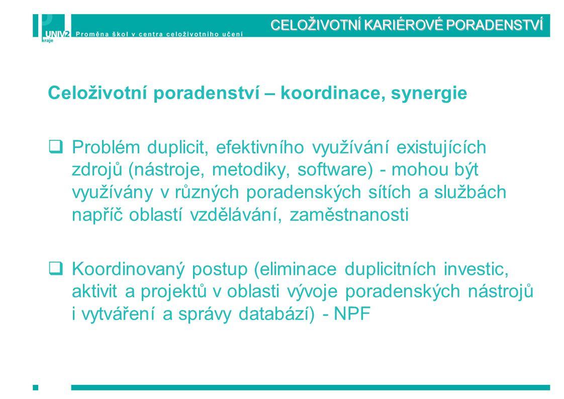 CELOŽIVOTNÍ KARIÉROVÉ PORADENSTVÍ Celoživotní poradenství – koordinace, synergie  Problém duplicit, efektivního využívání existujících zdrojů (nástro