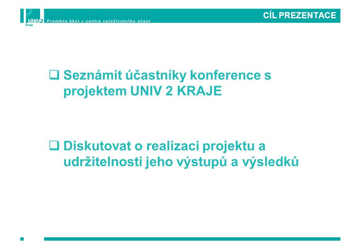 CÍL PREZENTACE  Seznámit účastníky konference s projektem UNIV 2 KRAJE  Diskutovat o realizaci projektu a udržitelnosti jeho výstupů a výsledků