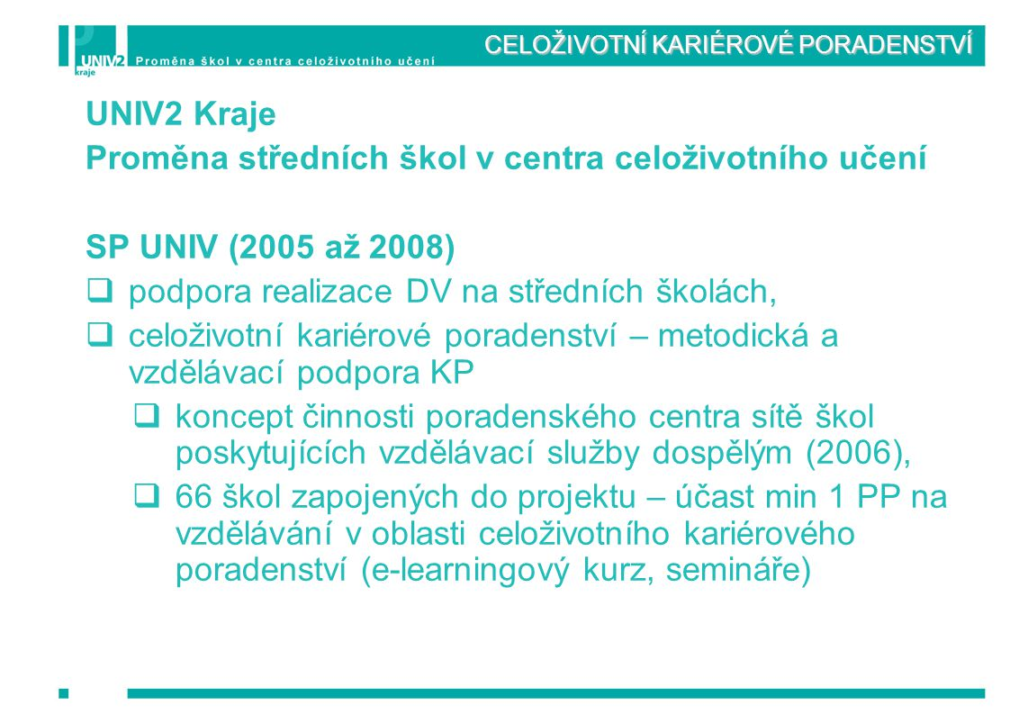 CELOŽIVOTNÍ KARIÉROVÉ PORADENSTVÍ UNIV2 Kraje Proměna středních škol v centra celoživotního učení SP UNIV (2005 až 2008)  podpora realizace DV na stř