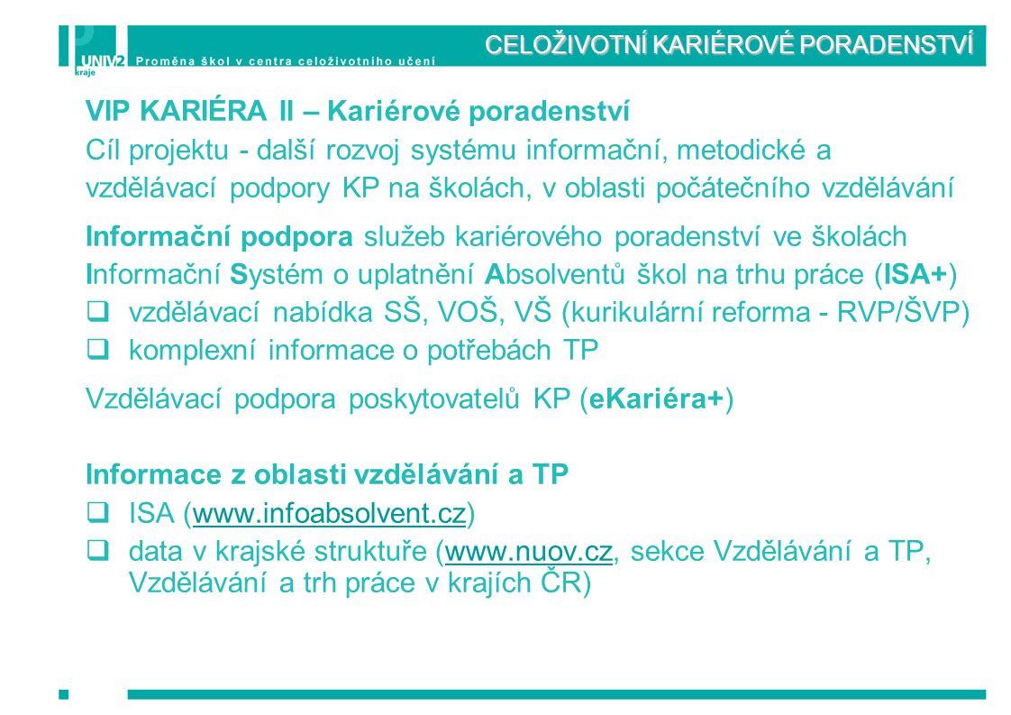 CELOŽIVOTNÍ KARIÉROVÉ PORADENSTVÍ VIP KARIÉRA II – Kariérové poradenství Cíl projektu - další rozvoj systému informační, metodické a vzdělávací podpor