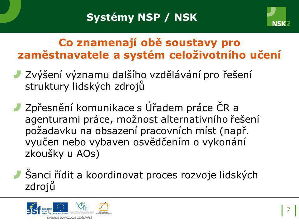 7 Zvýšení významu dalšího vzdělávání pro řešení struktury lidských zdrojů Zpřesnění komunikace s Úřadem práce ČR a agenturami práce, možnost alternativního řešení požadavku na obsazení pracovních míst (např.