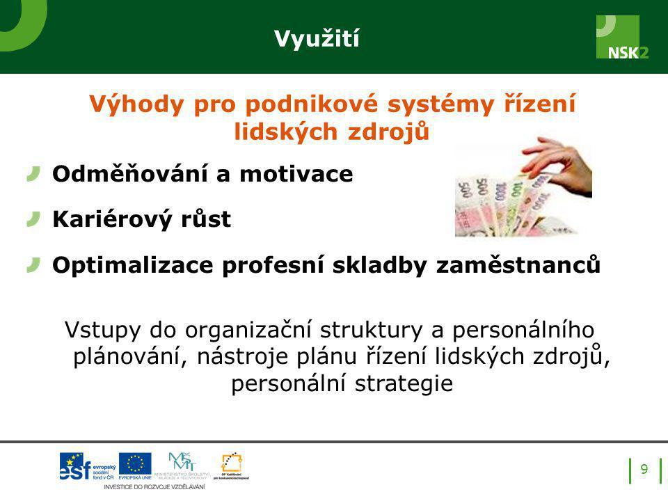 Využití 9 Odměňování a motivace Kariérový růst Optimalizace profesní skladby zaměstnanců Vstupy do organizační struktury a personálního plánování, nástroje plánu řízení lidských zdrojů, personální strategie Výhody pro podnikové systémy řízení lidských zdrojů