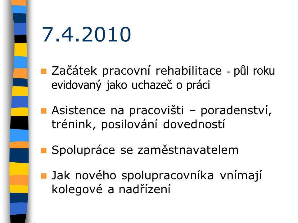 7.4.2010 Začátek pracovní rehabilitace - půl roku evidovaný jako uchazeč o práci Asistence na pracovišti – poradenství, trénink, posilování dovedností Spolupráce se zaměstnavatelem Jak nového spolupracovníka vnímají kolegové a nadřízení