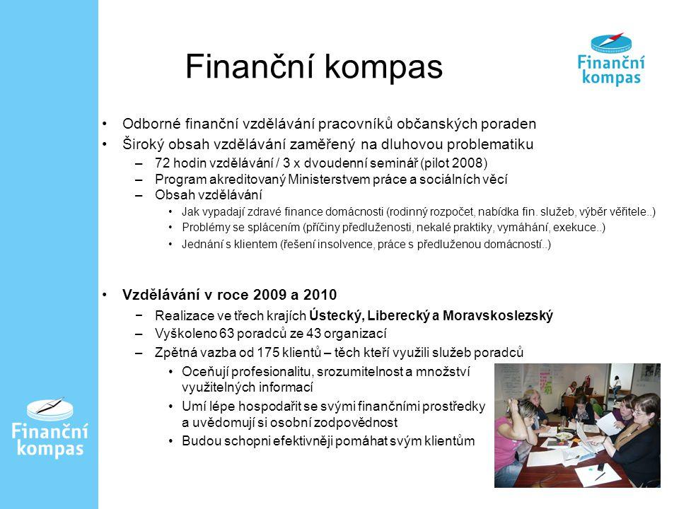 Odborné finanční vzdělávání pracovníků občanských poraden Široký obsah vzdělávání zaměřený na dluhovou problematiku –72 hodin vzdělávání / 3 x dvoudenní seminář (pilot 2008) –Program akreditovaný Ministerstvem práce a sociálních věcí –Obsah vzdělávání Jak vypadají zdravé finance domácnosti (rodinný rozpočet, nabídka fin.
