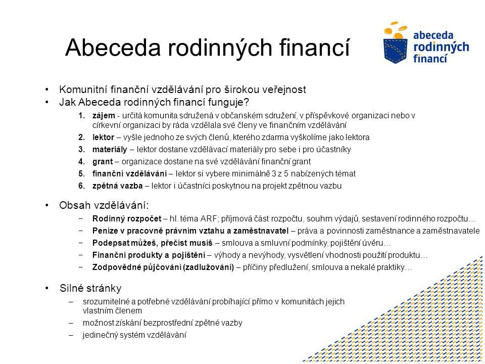 Abeceda rodinných financí Komunitní finanční vzdělávání pro širokou veřejnost Jak Abeceda rodinných financí funguje.