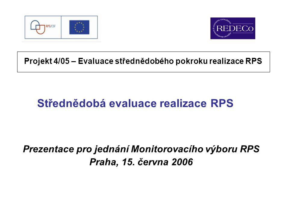 Střednědobá evaluace realizace RPS Prezentace pro jednání Monitorovacího výboru RPS Praha, 15.