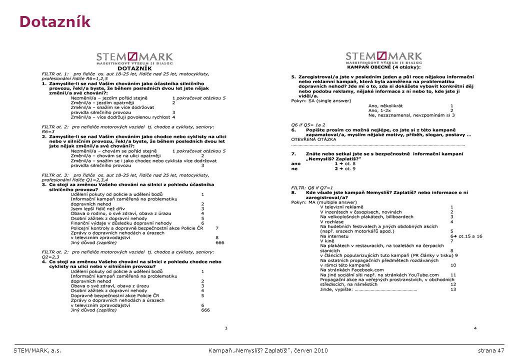 "STEM/MARK, a.s.Kampaň ""Nemyslíš? Zaplatíš!"", červen 2010strana 47 Dotazník"