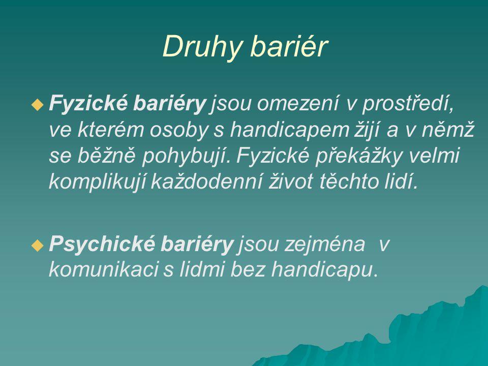 Druhy bariér   Fyzické bariéry jsou omezení v prostředí, ve kterém osoby s handicapem žijí a v němž se běžně pohybují.