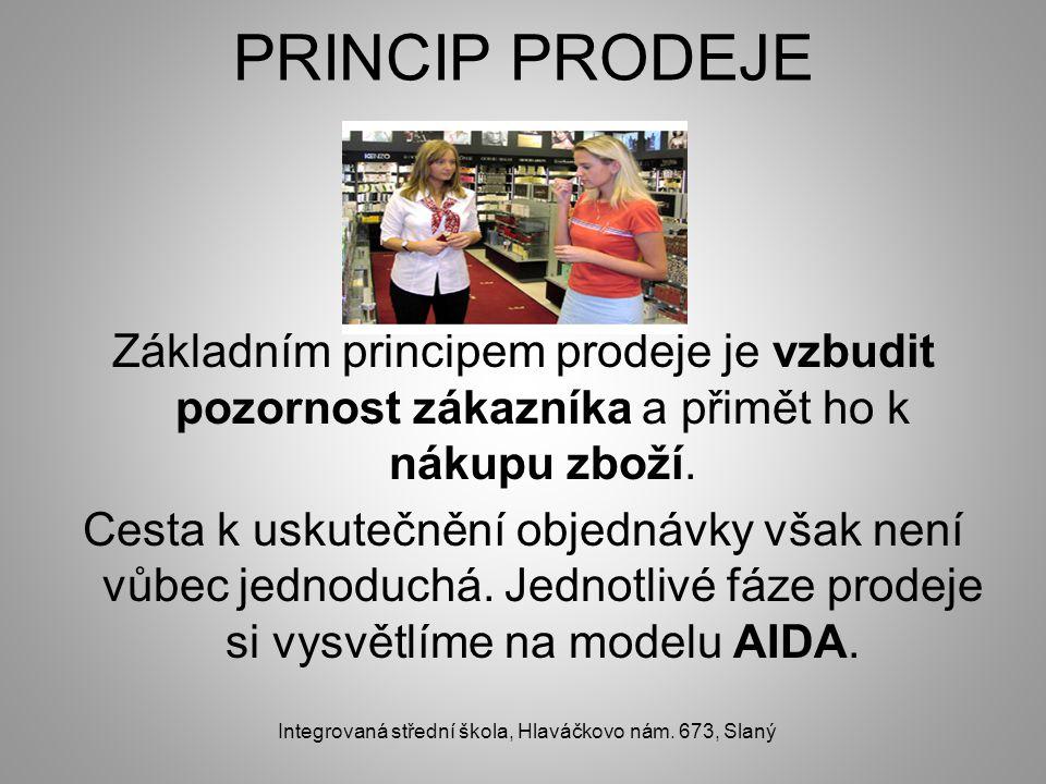 PRINCIP PRODEJE Základním principem prodeje je vzbudit pozornost zákazníka a přimět ho k nákupu zboží. Cesta k uskutečnění objednávky však není vůbec
