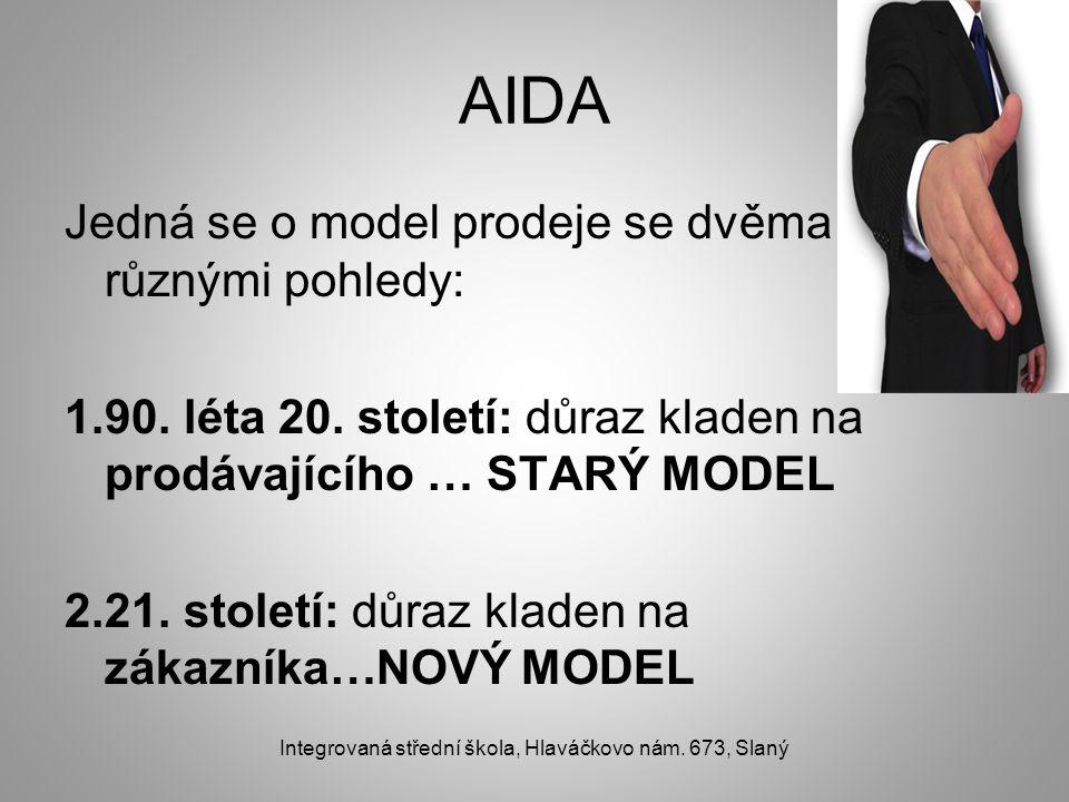 AIDA Jedná se o model prodeje se dvěma různými pohledy: 1.90. léta 20. století: důraz kladen na prodávajícího … STARÝ MODEL 2.21. století: důraz klade