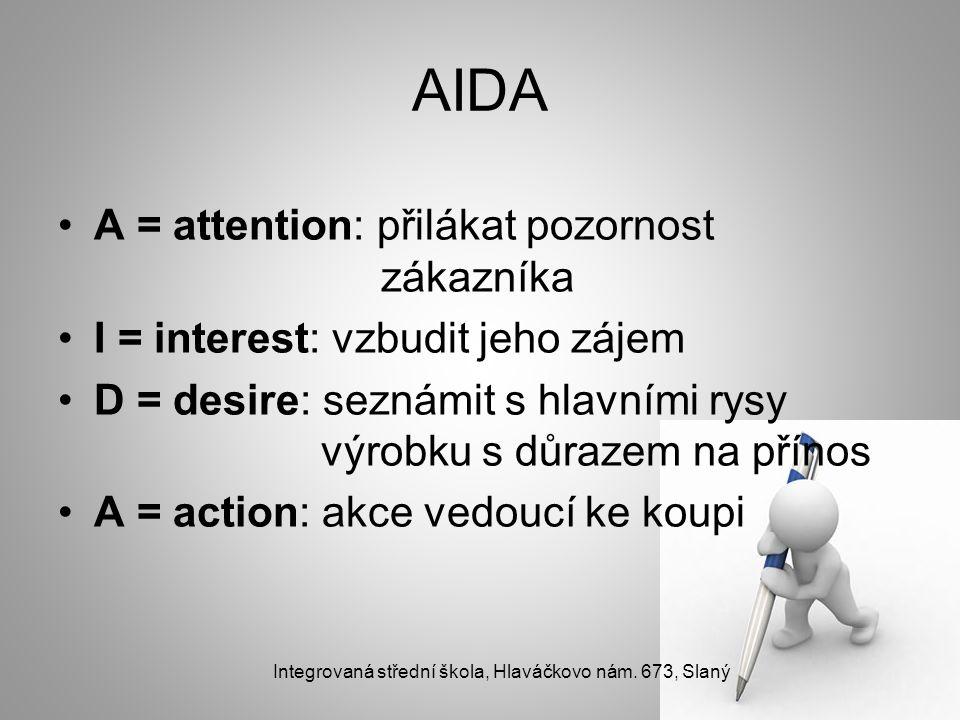 AIDA A = attention: přilákat pozornost zákazníka I = interest: vzbudit jeho zájem D = desire: seznámit s hlavními rysy výrobku s důrazem na přínos A =