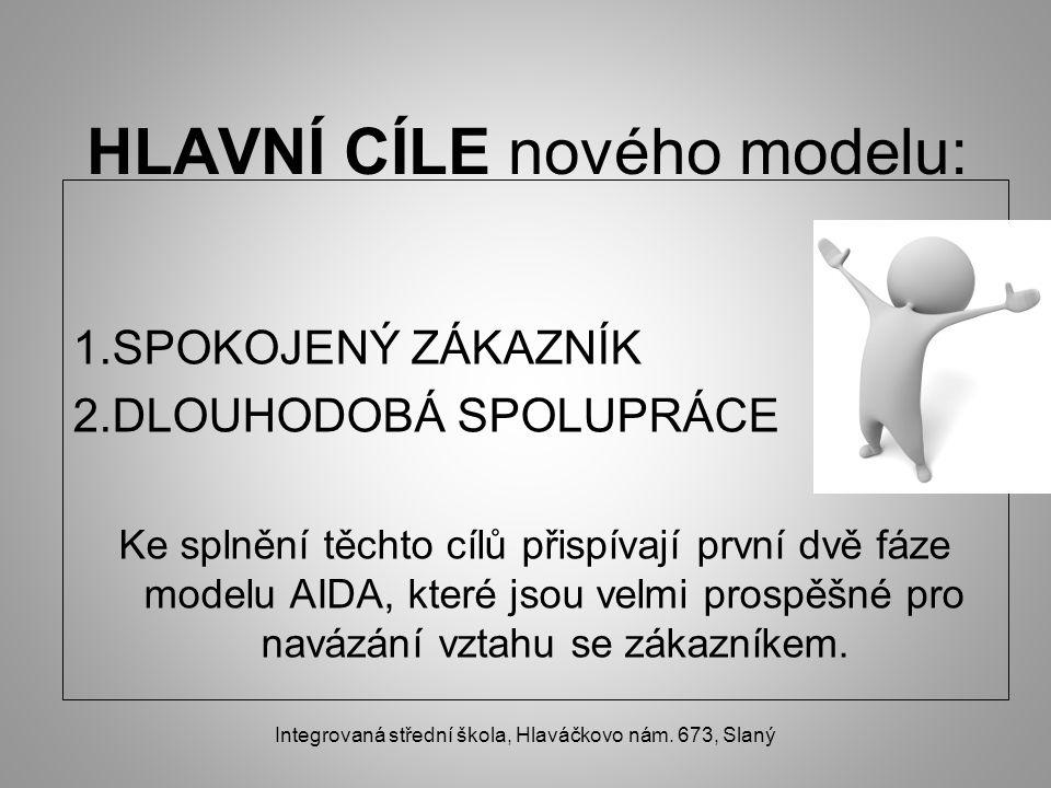 HLAVNÍ CÍLE nového modelu: 1.SPOKOJENÝ ZÁKAZNÍK 2.DLOUHODOBÁ SPOLUPRÁCE Ke splnění těchto cílů přispívají první dvě fáze modelu AIDA, které jsou velmi