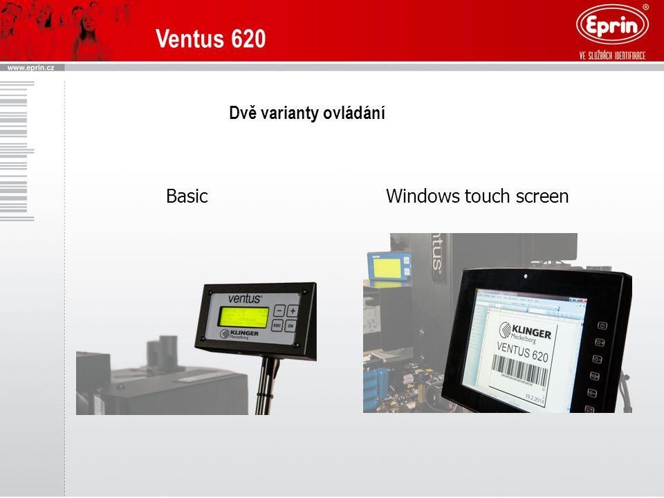 Ventus 620 Dvě varianty ovládání BasicWindows touch screen