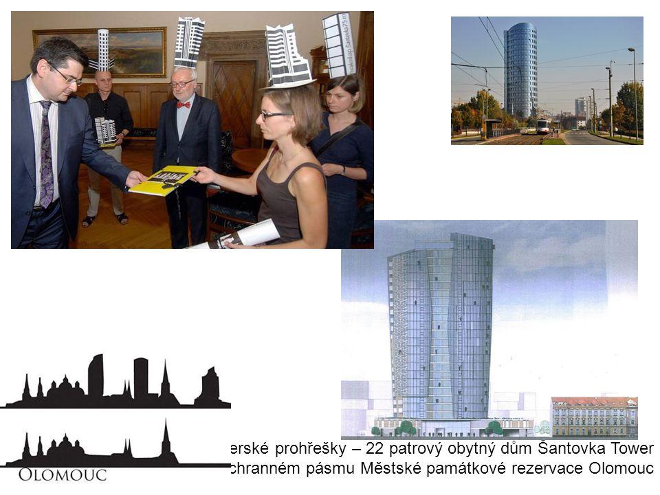 Developerské prohřešky – 22 patrový obytný dům Šantovka Tower v ochranném pásmu Městské památkové rezervace Olomouc
