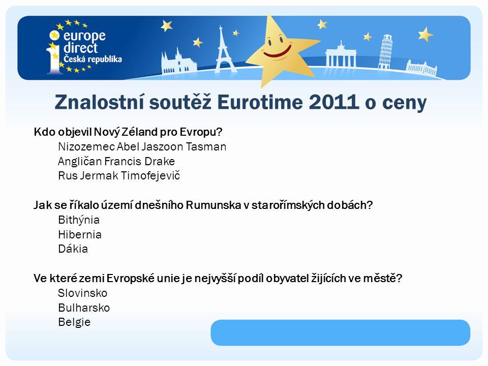 Znalostní soutěž Eurotime 2011 o ceny Kdo objevil Nový Zéland pro Evropu.