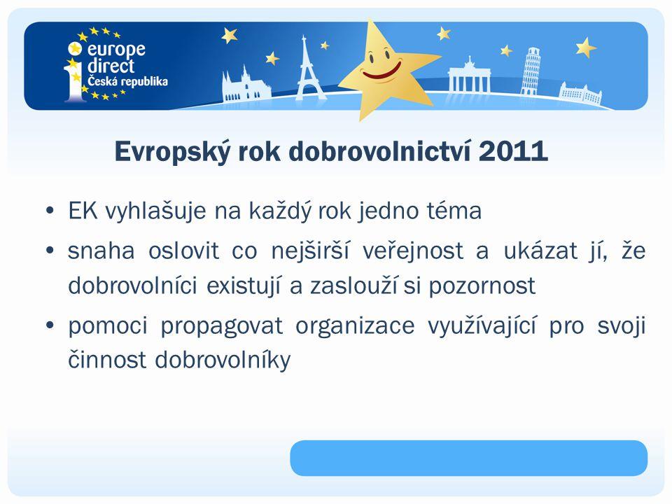 Evropský rok dobrovolnictví 2011 EK vyhlašuje na každý rok jedno téma snaha oslovit co nejširší veřejnost a ukázat jí, že dobrovolníci existují a zaslouží si pozornost pomoci propagovat organizace využívající pro svoji činnost dobrovolníky