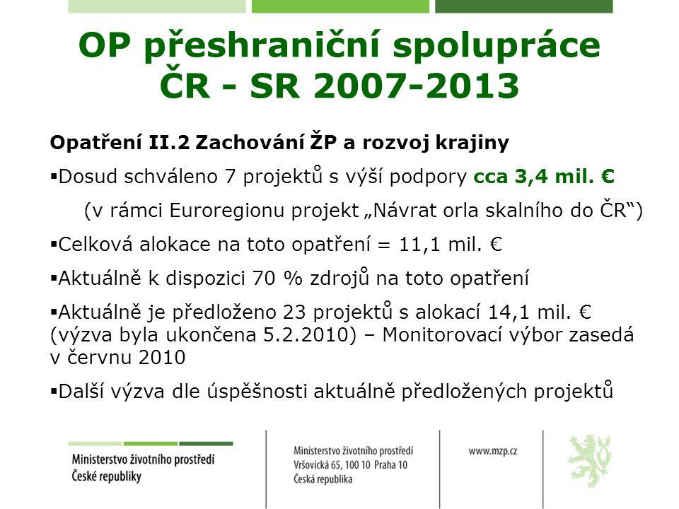 Opatření II.2 Zachování ŽP a rozvoj krajiny  Dosud schváleno 7 projektů s výší podpory cca 3,4 mil.