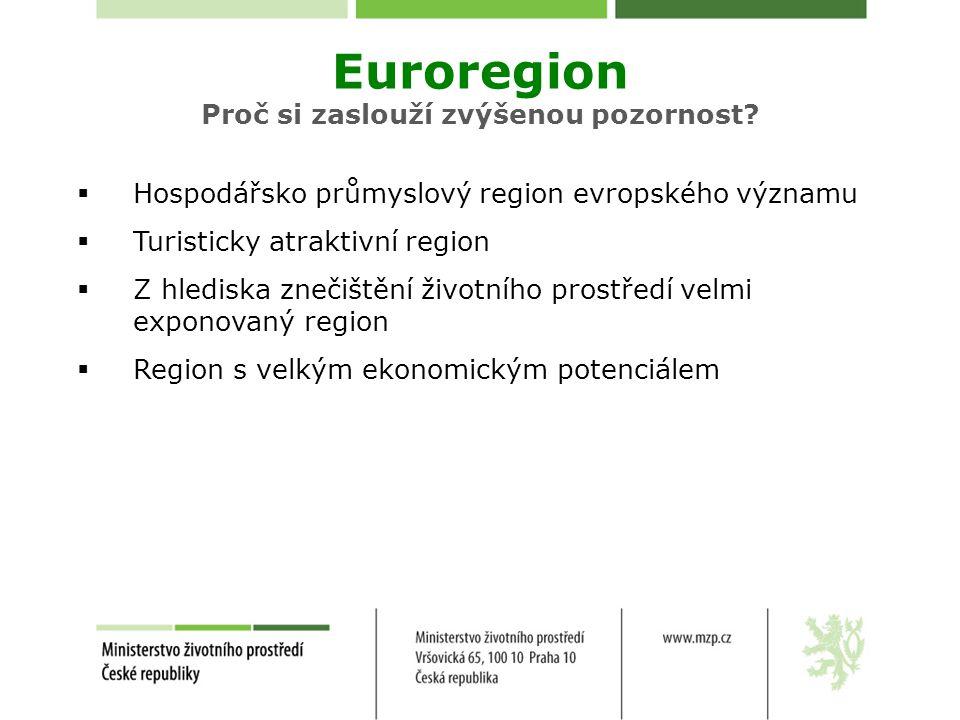  Hospodářsko průmyslový region evropského významu  Turisticky atraktivní region  Z hlediska znečištění životního prostředí velmi exponovaný region  Region s velkým ekonomickým potenciálem Euroregion Proč si zaslouží zvýšenou pozornost?