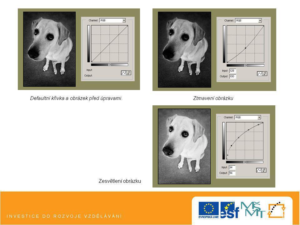 Defaultní křivka a obrázek před úpravami.Ztmavení obrázku Zesvětlení obrázku