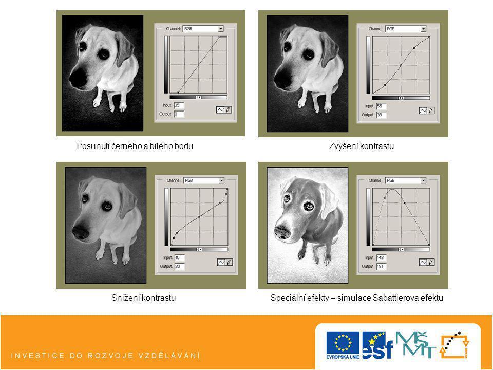 Posunutí černého a bílého boduZvýšení kontrastu Snížení kontrastuSpeciální efekty – simulace Sabattierova efektu