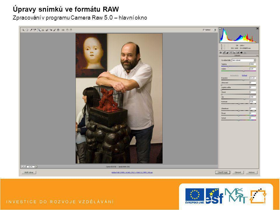 Úpravy snímků ve formátu RAW Zpracování v programu Camera Raw 5.0 – hlavní okno