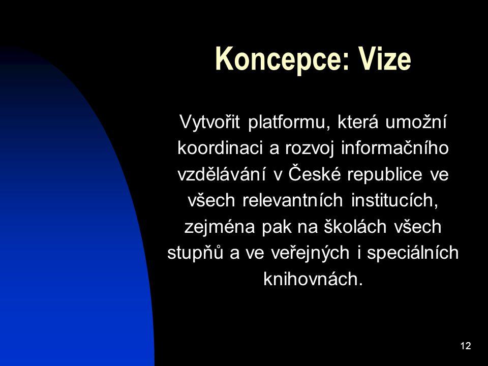 12 Koncepce: Vize Vytvořit platformu, která umožní koordinaci a rozvoj informačního vzdělávání v České republice ve všech relevantních institucích, zejména pak na školách všech stupňů a ve veřejných i speciálních knihovnách.
