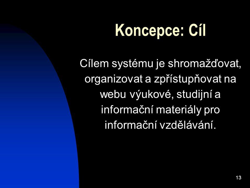 13 Koncepce: Cíl Cílem systému je shromažďovat, organizovat a zpřístupňovat na webu výukové, studijní a informační materiály pro informační vzdělávání.