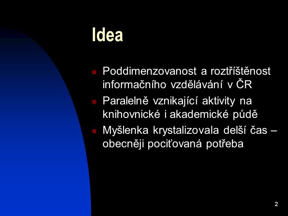 2 Idea Poddimenzovanost a roztříštěnost informačního vzdělávání v ČR Paralelně vznikající aktivity na knihovnické i akademické půdě Myšlenka krystalizovala delší čas – obecněji pociťovaná potřeba