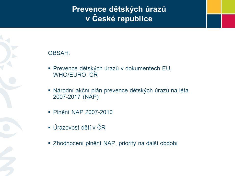 Prevence dětských úrazů v České republice OBSAH:  Prevence dětských úrazů v dokumentech EU, WHO/EURO, ČR  Národní akční plán prevence dětských úrazů