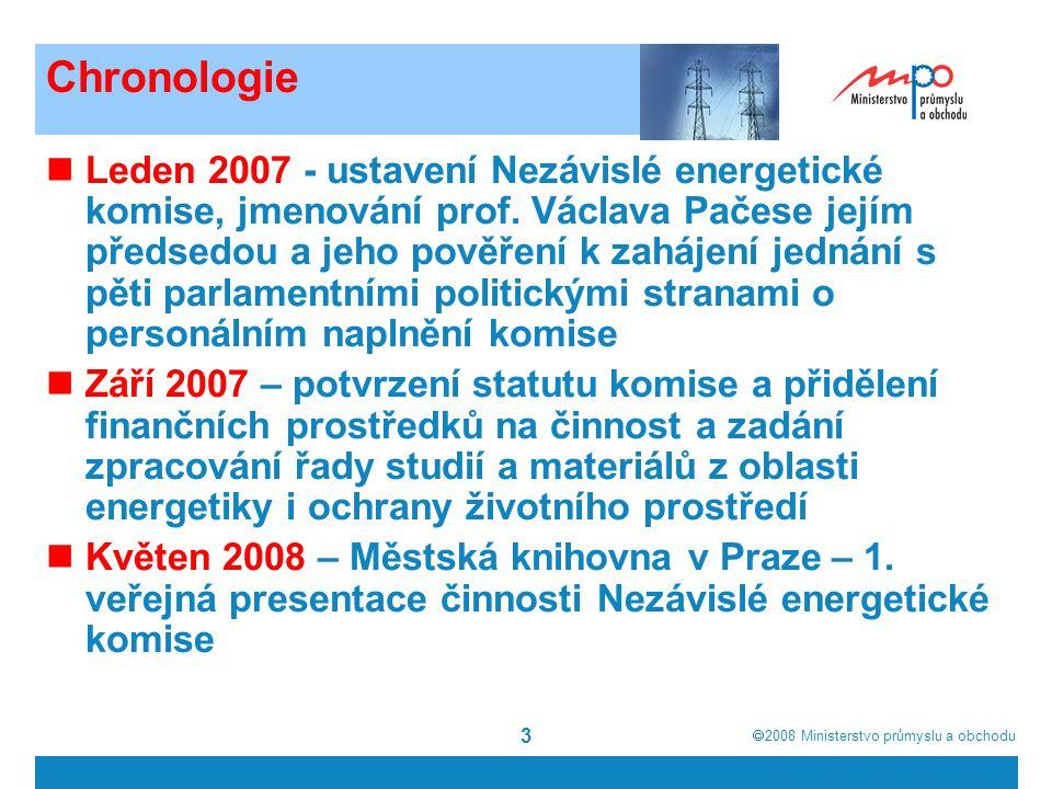  2008  Ministerstvo průmyslu a obchodu 3 Chronologie Leden 2007 - ustavení Nezávislé energetické komise, jmenování prof.