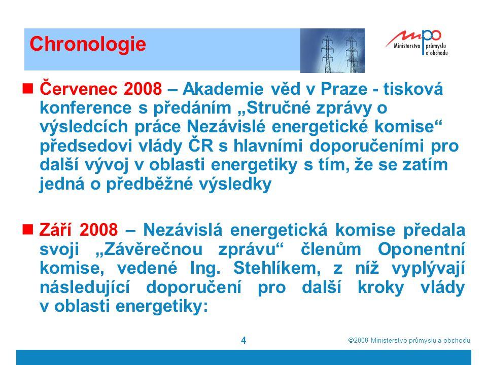 2008  Ministerstvo průmyslu a obchodu 5 Doporučení NEK · Vláda by měla aktivně podporovat každé opatření, které povede k prohloubení konkurence na energetických trzích.