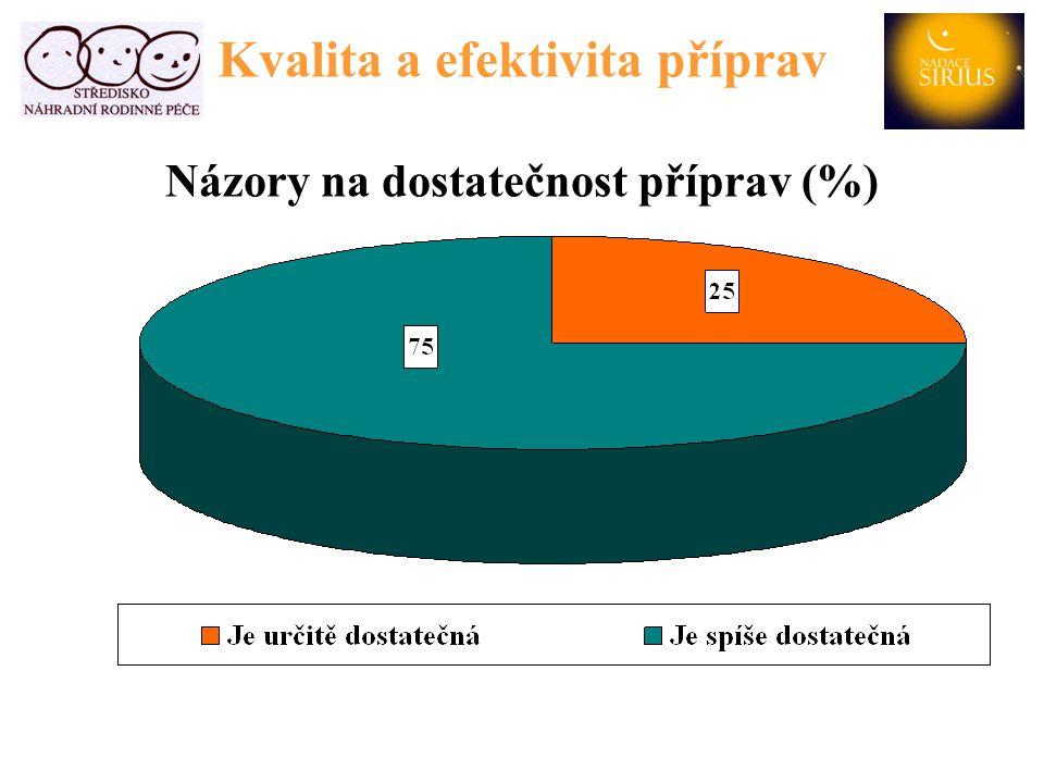 Kvalita a efektivita příprav Názory na dostatečnost příprav (%)