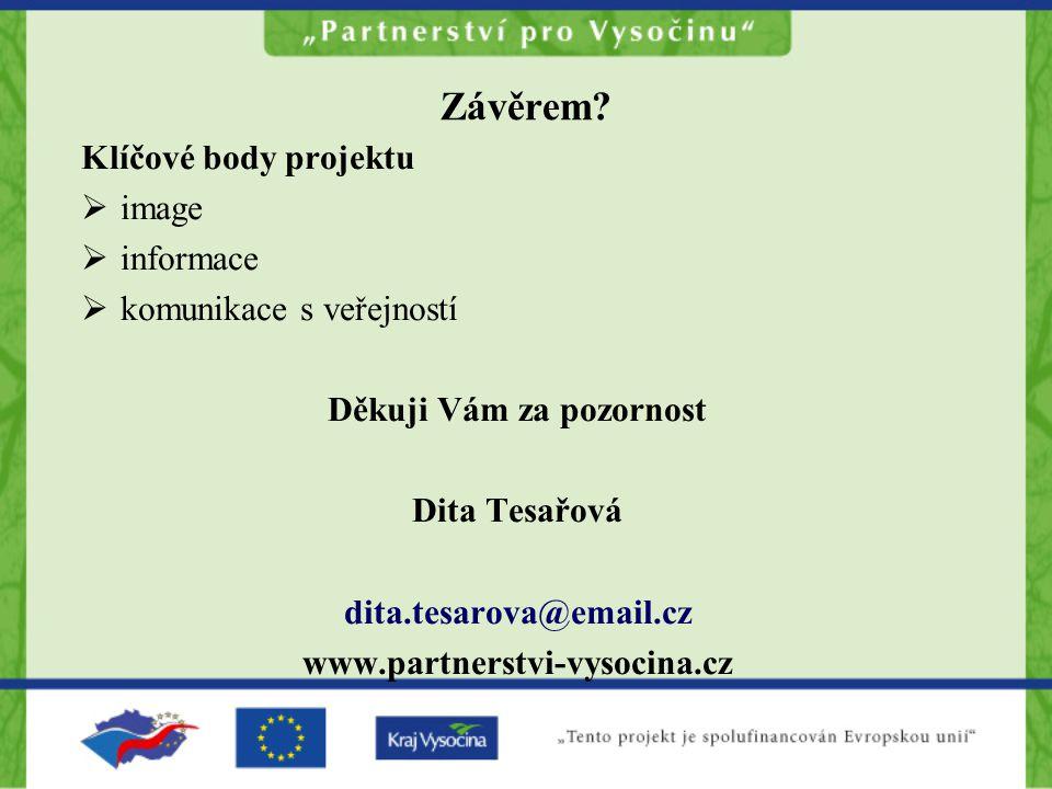 Závěrem? Klíčové body projektu  image  informace  komunikace s veřejností Děkuji Vám za pozornost Dita Tesařová dita.tesarova@email.cz www.partners