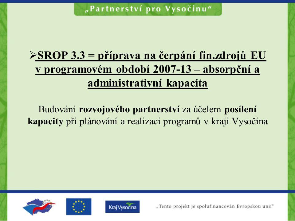  SROP 3.3 = příprava na čerpání fin.zdrojů EU v programovém období 2007-13 – absorpční a administrativní kapacita Budování rozvojového partnerství za účelem posílení kapacity při plánování a realizaci programů v kraji Vysočina