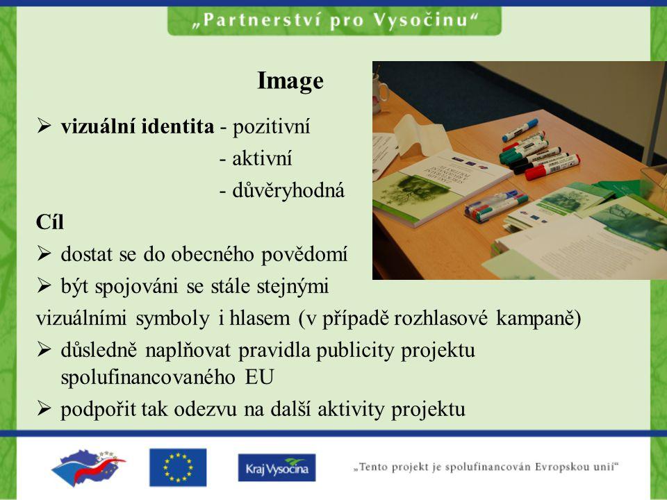 Image  vizuální identita - pozitivní - aktivní - důvěryhodná Cíl  dostat se do obecného povědomí  být spojováni se stále stejnými vizuálními symboly i hlasem (v případě rozhlasové kampaně)  důsledně naplňovat pravidla publicity projektu spolufinancovaného EU  podpořit tak odezvu na další aktivity projektu