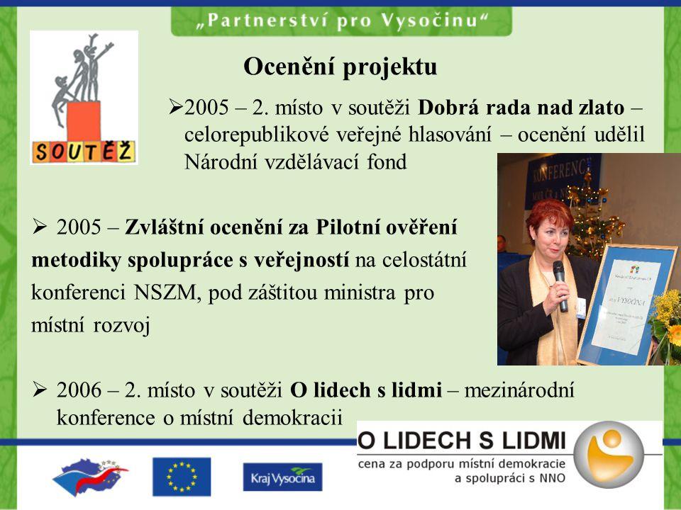 Ocenění projektu  2005 – 2. místo v soutěži Dobrá rada nad zlato – celorepublikové veřejné hlasování – ocenění udělil Národní vzdělávací fond  2005