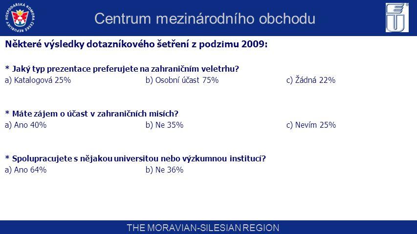 THE MORAVIAN-SILESIAN REGION Některé výsledky dotazníkového šetření z podzimu 2009: * Jaký typ prezentace preferujete na zahraničním veletrhu? a) Kata