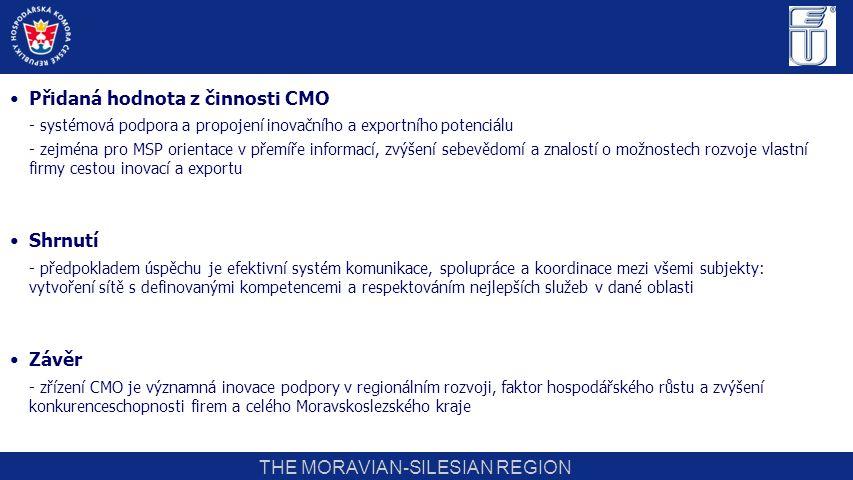 THE MORAVIAN-SILESIAN REGION Přidaná hodnota z činnosti CMO - systémová podpora a propojení inovačního a exportního potenciálu - zejména pro MSP orien