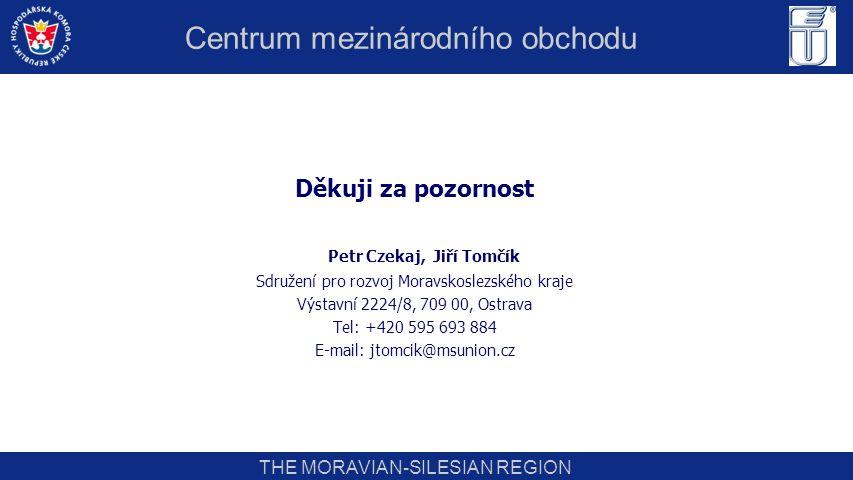 THE MORAVIAN-SILESIAN REGION Děkuji za pozornost Petr Czekaj, Jiří Tomčík Sdružení pro rozvoj Moravskoslezského kraje Výstavní 2224/8, 709 00, Ostrava