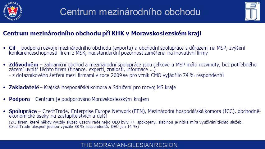 THE MORAVIAN-SILESIAN REGION Hlavní aktivity CMO: Transfer existujících odborných seminářů především z Prahy do MS kraje s respektováním poptávky Teritoriální semináře Propagace a podpora účasti firemních zástupců na zahraničních veletrzích a výstavách Rozvoj partnerských vztahů se zahraničními regiony a organizování vzájemných podnikatelských setkání Vytváření vlastní databáze poradců (především právníků) specializovaných na oblast zahraničního obchodu Klub exportérů (expertní sekce KHK) Šíření informací o zahraničně-obchodních akcích a službách spolupracujících institucí (ICC, ČEB, EGAP, OEÚ…) Centrum mezinárodního obchodu