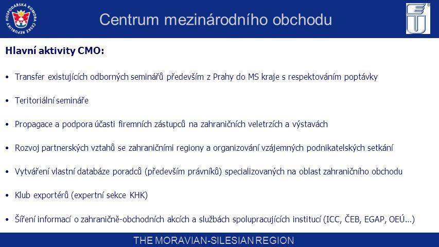 THE MORAVIAN-SILESIAN REGION Hlavní aktivity CMO: Transfer existujících odborných seminářů především z Prahy do MS kraje s respektováním poptávky Teri
