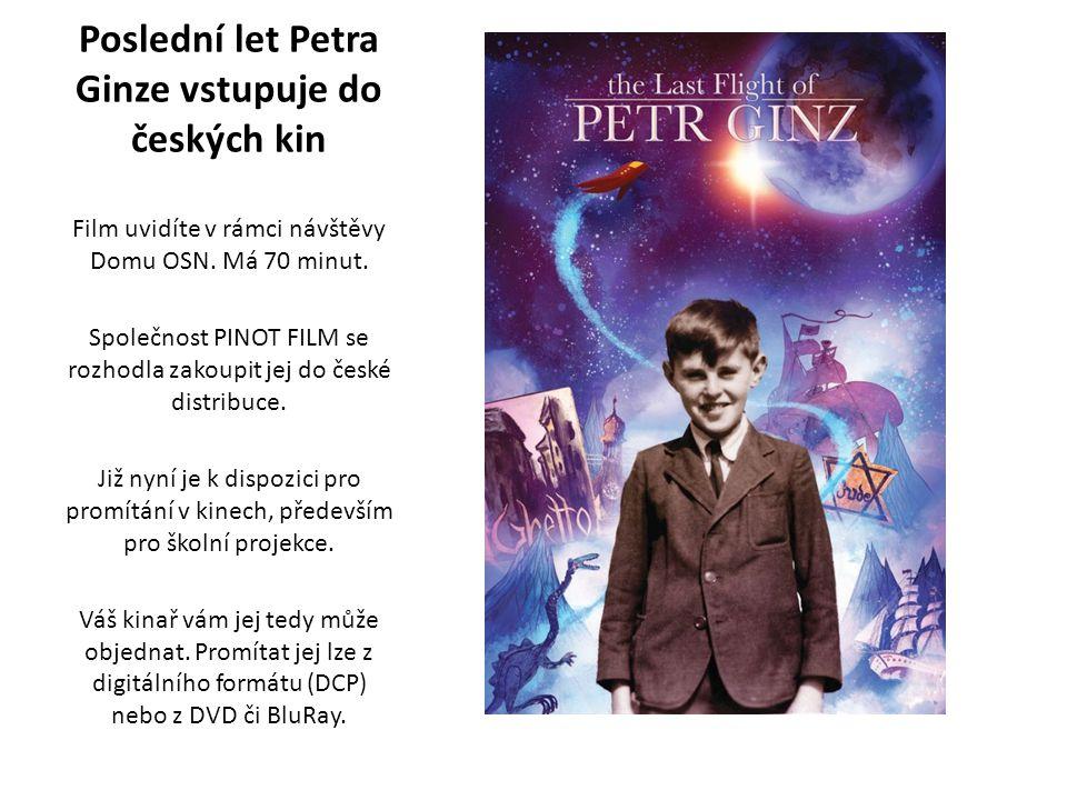 Poslední let Petra Ginze vstupuje do českých kin Film uvidíte v rámci návštěvy Domu OSN.