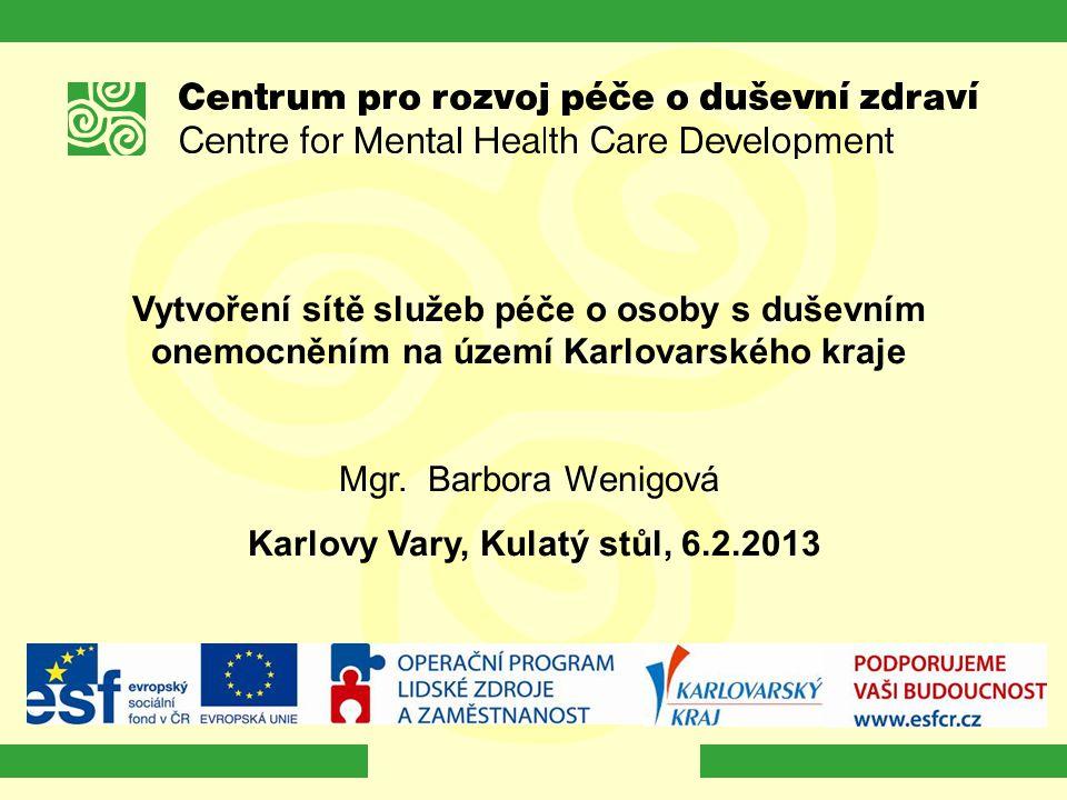 Vytvoření sítě služeb péče o osoby s duševním onemocněním na území Karlovarského kraje Mgr. Barbora Wenigová Karlovy Vary, Kulatý stůl, 6.2.2013