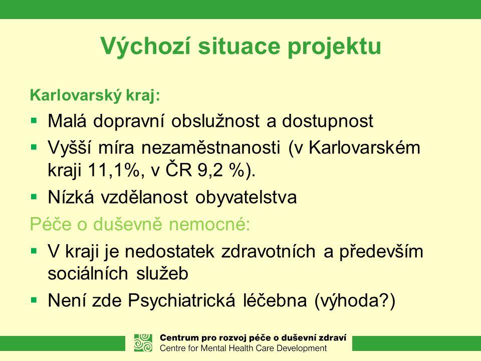 Výchozí situace projektu Karlovarský kraj:  Malá dopravní obslužnost a dostupnost  Vyšší míra nezaměstnanosti (v Karlovarském kraji 11,1%, v ČR 9,2