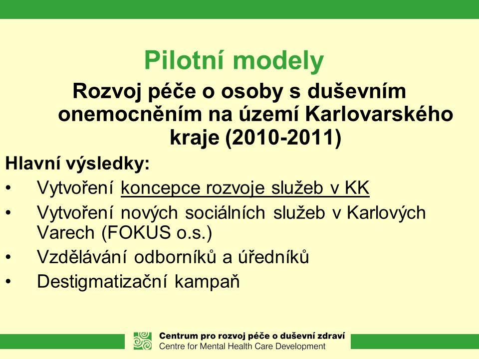 Pilotní modely Rozvoj péče o osoby s duševním onemocněním na území Karlovarského kraje (2010-2011) Hlavní výsledky: Vytvoření koncepce rozvoje služeb